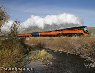 Steam Engine SP4449 passes the Little Blackfoot River in Montana