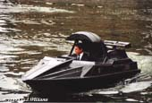 Stuntman Wade Eastwood in the James Bond Q boat