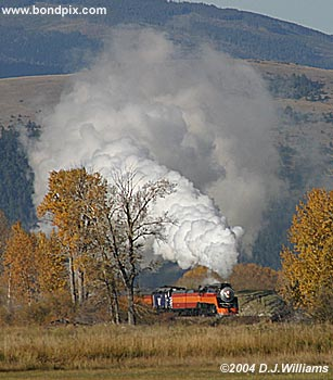 SP 4449 Steam Engine approaches Avon in Montana